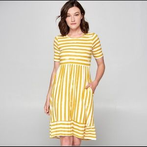 Orange Creek mustard/white striped dress